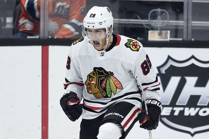 Chicago Blackhawks right wing Patrick Kane celebrates scoring the game-winning goal during the overtime period of an NHL hockey game against the Anaheim Ducks in Anaheim, Calif., Sunday, Nov. 3, 2019. The Blackhawks won 3-2. (AP Photo/Kelvin Kuo)