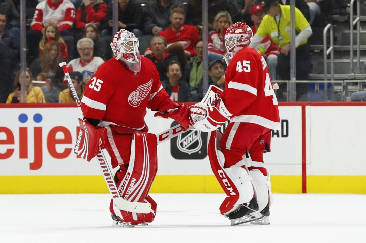 Detroit Red Wings goaltender Jonathan Bernier (45) replaces goaltender Jimmy Howard (35) in the second period of an NHL hockey game against the Nashville Predators, Monday, Nov. 4, 2019, in Detroit. (AP Photo/Paul Sancya)