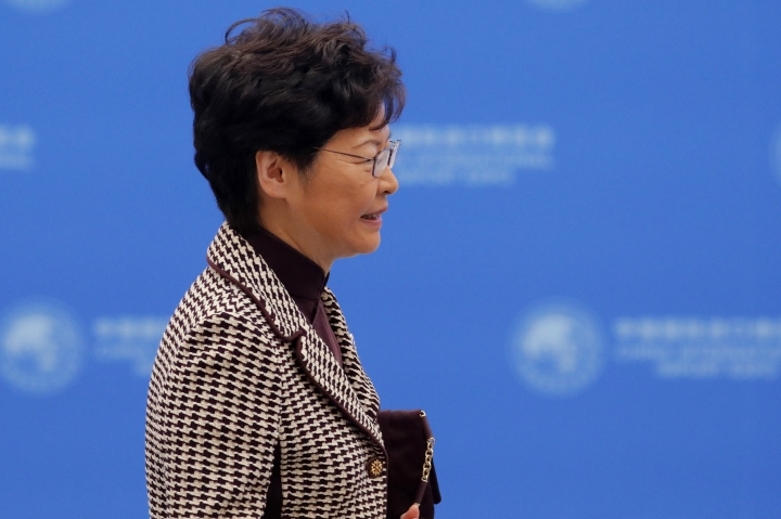 Hong Kong Chief Executive Carrie Lam arrives for the second Hongqiao International Economic Forum of the 2nd China International Import Expo at the National Exhibition and Convention Center in Shanghai, China, Tuesday, Nov. 5, 2019. (Wu Hong/Pool Photo via AP)