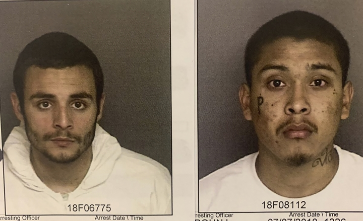 These undated photos provided by the Monterey County Sheriff's Office show inmates Santos Fonseca, left and Jonathan Salazar, right, who escaped from from Monterey County Jail Sunday, Nov. 3, 2019. Authorities say the two murder suspects have escaped from central California's Monterey County Jail. (Monterey County Sheriff's Office via AP)