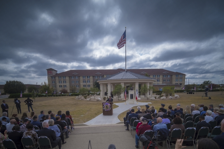 The ten year anniversary Remembrance of the Nov. 5, 2009 Fort Hood shooting in Killeen, Texas on Tuesday, Nov. 5, 2019. ( Jeromiah Lizama/The Killeen Daily Herald via AP)