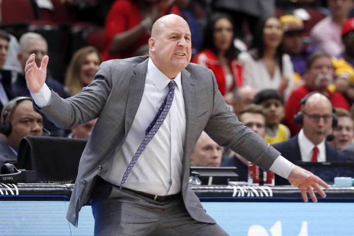 Chicago Bulls head coach Jim Boylen motions to his team during the first half of an NBA basketball game against the Los Angeles Lakers Tuesday, Nov. 5, 2019, in Chicago. (AP Photo/Charles Rex Arbogast)