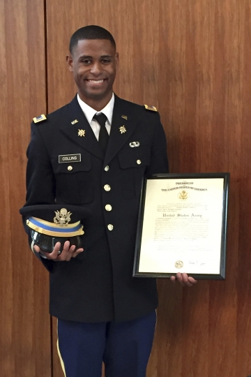This undated file photo provided by the family of Richard Collins III shows him in his United States Army uniform. A judge has dismissed a hate crime charge against Sean Urbanski, who is charged of fatally stabbing Collins, a black college student at the University of Maryland. The murder trial will continue Wednesday for Urbanski. A defense attorney and a state's attorney's office spokeswoman said Tuesday that a judge agreed to acquit Urbanski of the hate crime charge. Jurors in the case are expected to begin deliberating on Wednesday. (Richard W. Collins Jr. via AP)