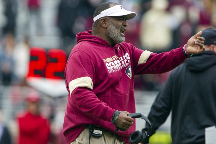 Florida State interim head coach Odell Haggins shouts direction in a game against Alabama State in the second half of an NCAA college football game in Tallahassee, Fla., Saturday, Nov. 16, 2019. Florida State won 49-12. (AP Photo/Mark Wallheiser)
