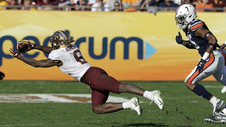 Minnesota wide receiver Tyler Johnson (6) makes a diving catch in front of Auburn defensive back Jordyn Peters (15) during the second half of the Outback Bowl NCAA college football game Wednesday, Jan. 1, 2020, in Tampa, Fla. (AP Photo/Chris O'Meara)