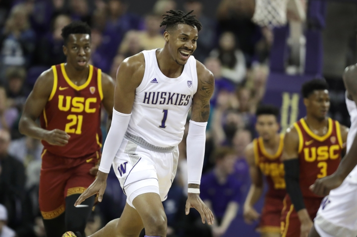 Washington forward Nate Roberts (1) reacts to a play against Southern California during the first half of an NCAA college basketball game, Sunday, Jan. 5, 2020, in Seattle. (AP Photo/Ted S. Warren)