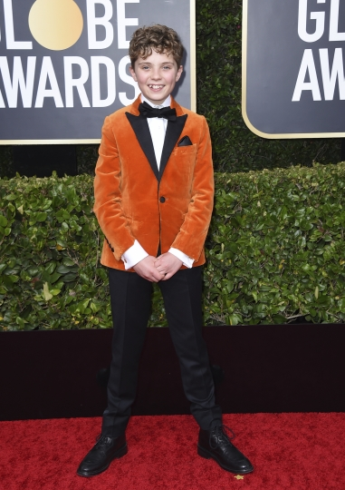 Roman Griffin Davis arrives at the 77th annual Golden Globe Awards at the Beverly Hilton Hotel on Sunday, Jan. 5, 2020, in Beverly Hills, Calif. (Photo by Jordan Strauss/Invision/AP)