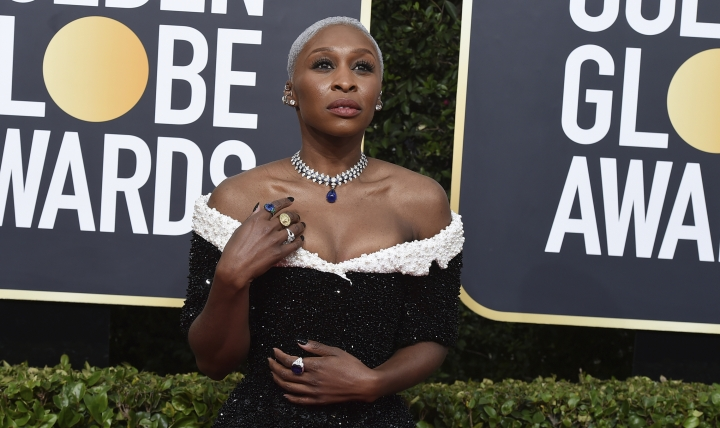 Cynthia Erivo arrives at the 77th annual Golden Globe Awards at the Beverly Hilton Hotel on Sunday, Jan. 5, 2020, in Beverly Hills, Calif. (Photo by Jordan Strauss/Invision/AP)