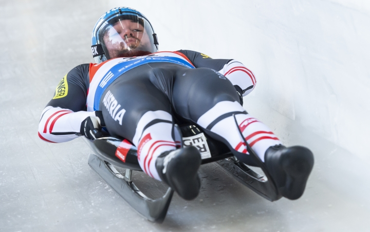 David Gleirscher from Austria in action during the men's single luge first heat race at the Luge World Cup in Altenberg, Germany, Saturday, Jan. 11, 2020. (Matthias Rietschel/dpa via AP)