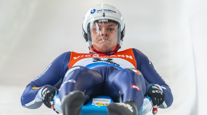 Dominik Fischnaller from Italy in action during the men's single luge first heat race at the Luge World Cup in Altenberg, Germany, Saturday, Jan. 11, 2020. (Matthias Rietschel/dpa via AP)