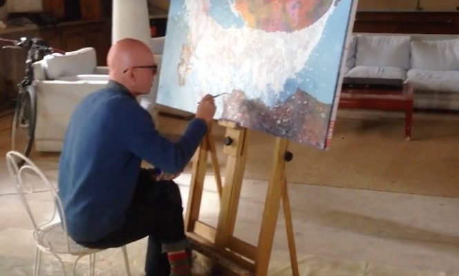 Watch Radiohead artist Stanley Donwood paint <em>A Moon Shaped Pool</em> artwork