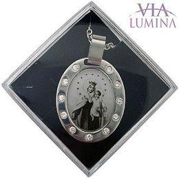 Corrente e Medalha em Aço Inox - Nossa Senhora do Carmo - 30mm
