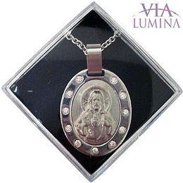 Corrente e Medalha em Foto Inox - Sagrado Coração de Jesus - 30mm
