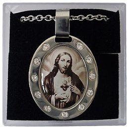Corrente e Medalha em Aço Inox - Sagrado Coração de Jesus