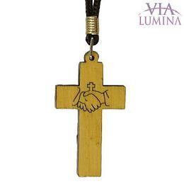 Cordão com Cruz com Mãos Gravadas