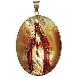 Medalha em Madrepérola e Ouro Oval com Santos