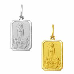 Medalha em Ouro de Nossa Senhora de Fátima - Retangular
