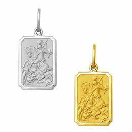 Medalha em Ouro de São Jorge - Retangular