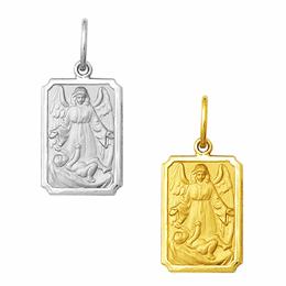 Medalha em Ouro do Anjo da Guarda - Batismo - Retangular