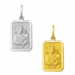 Medalha em Ouro de São José - Retangular