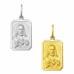 Medalha em Ouro do Sagrado Coração de Jesus - Retangular