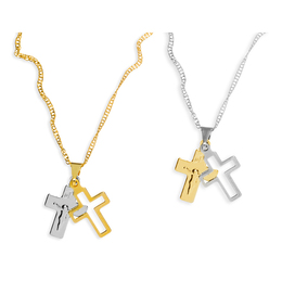 Crucifixo Duplo Folheado