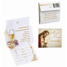 Lembrança Cartão da Minha Primeira Eucaristia com Mini Terço