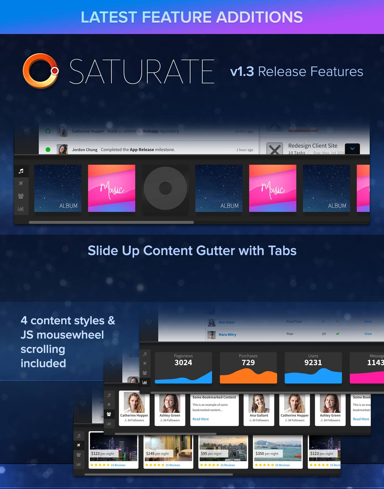 Saturate UI v1.3 Features