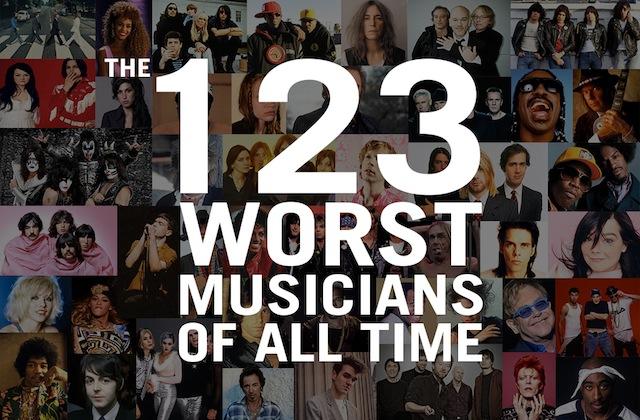 Los 123 peores músicos de todos los tiempos (humor)