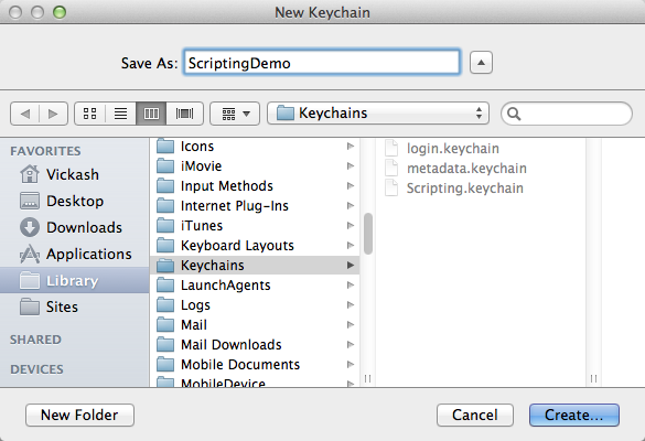 Create a new keychain.