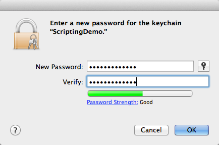Set a password for the keychain.
