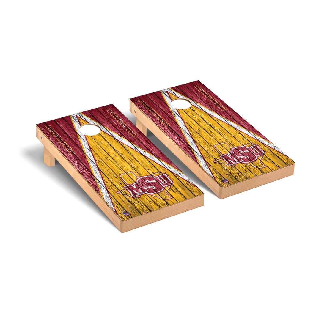 Midwestern State Mustangs Cornhole Game Set Triangle Weathered Version