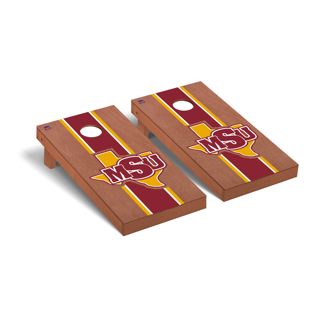Midwestern State MSU Mustangs Cornhole Game Set Rosewood Stained Stripe Version