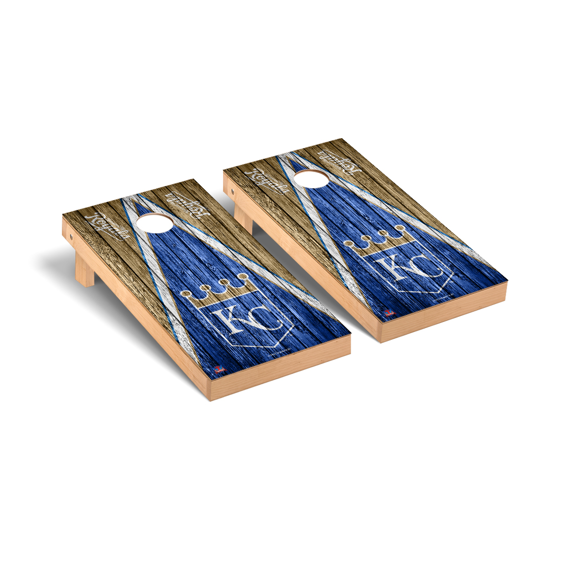 Kansas City Royals MLB Baseball Cornhole Game Set Triangle Weathered Version