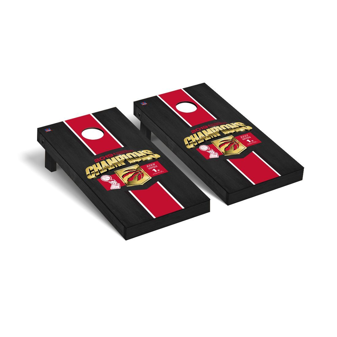 Toronto Raptors NBA Champions 2019 Regulation Cornhole Game Set Onyx Stained Stripe Version
