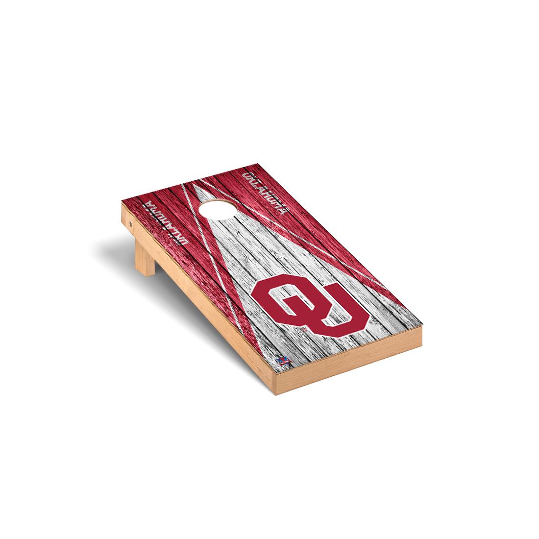 Oklahoma Sooners Cornhole Game Set Triangle Weathered Version