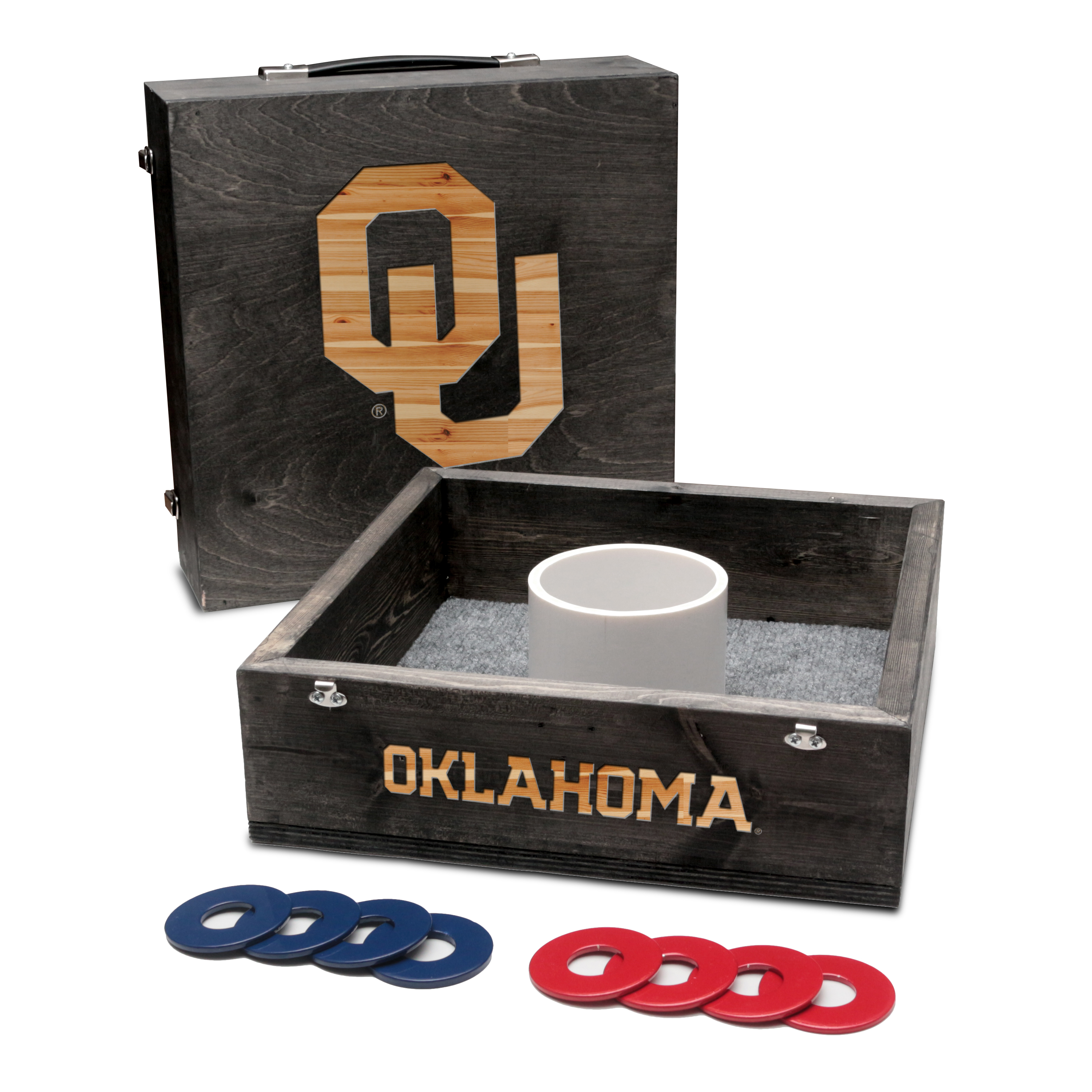 Oklahoma Sooners Washer Game Set Onyx Stained