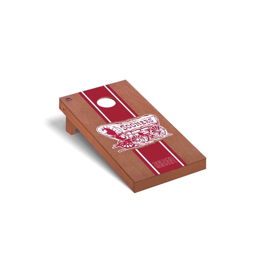 Oklahoma Sooners Cornhole Game Set Rosewood Stained Stripe Boomer Sooner Version