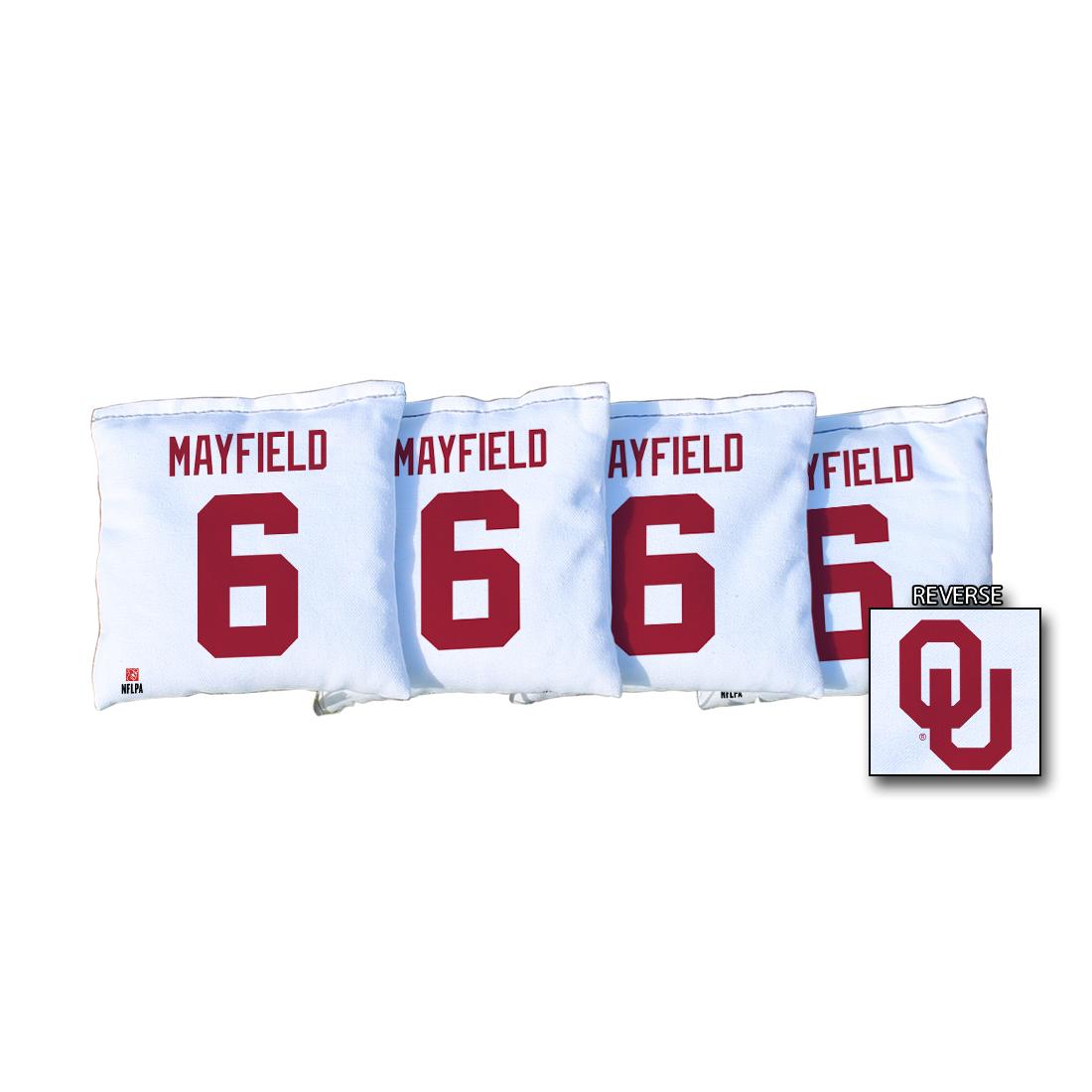 4 University of Oklahoma NFLPA Baker Mayfield White Regulation Cornhole Bags