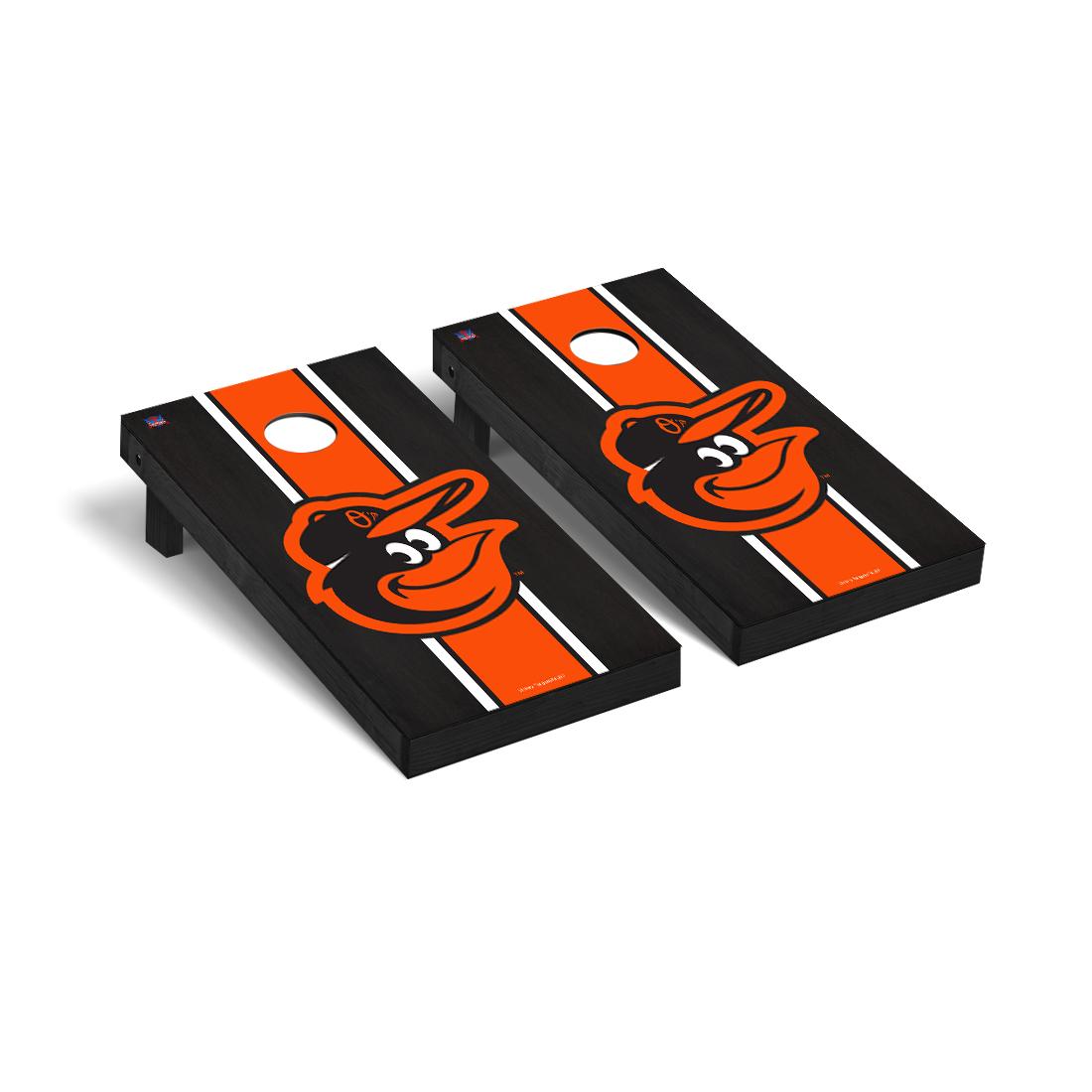 Baltimore Orioles MLB Baseball Cornhole Game Set Onyx Stained Stripe Version