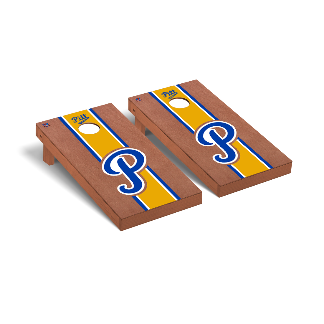 College Vault Pittsburgh Pitt Panthers Cornhole Game Set Rosewood Stained Stripe Version