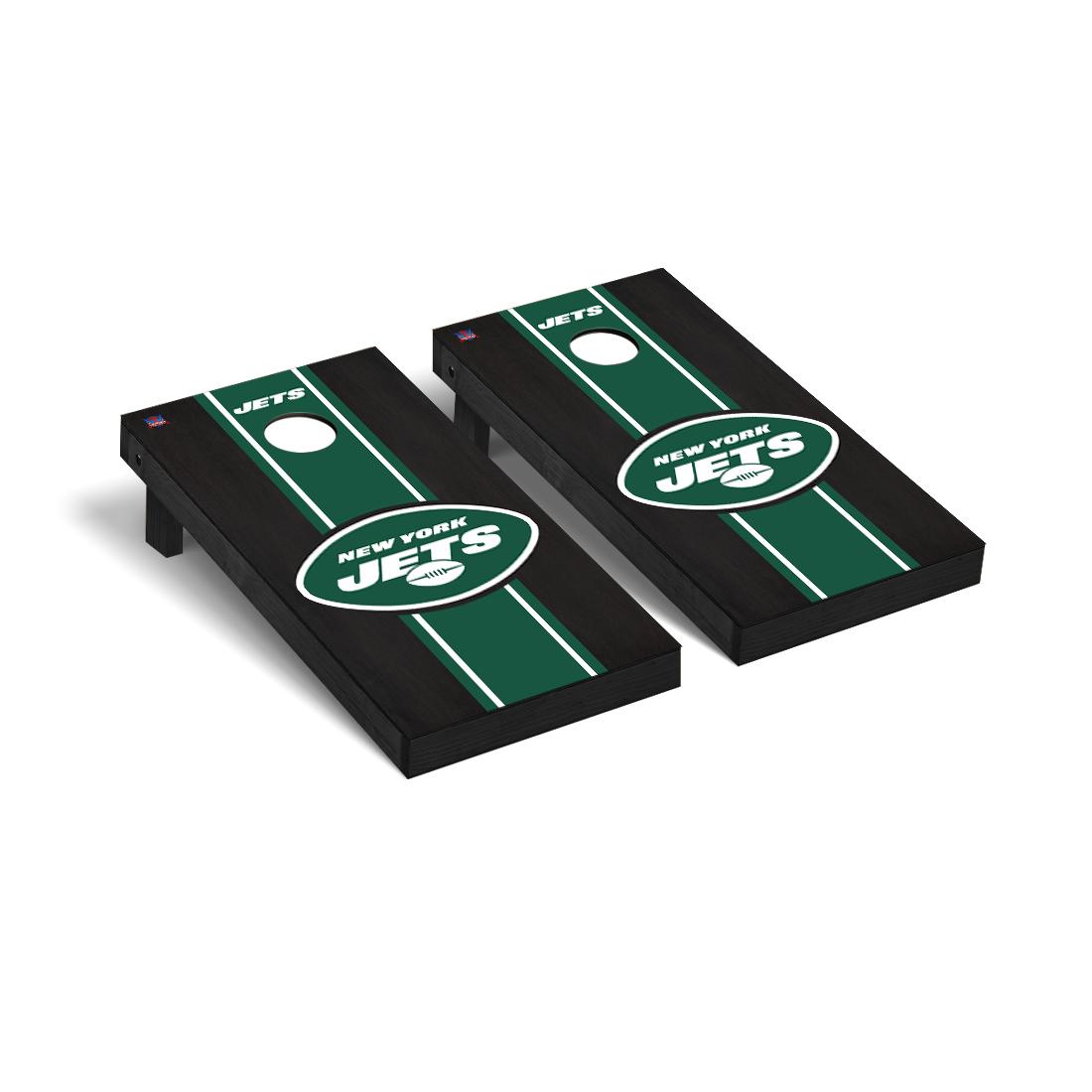 New York Jets NFL Football Cornhole Game Set Onyx Stained Stripe Version 2