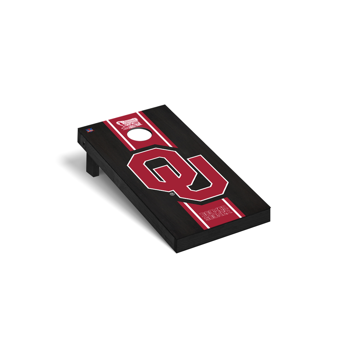 Oklahoma Sooner Cornhole Game Set Onyx Stained Stripe Version