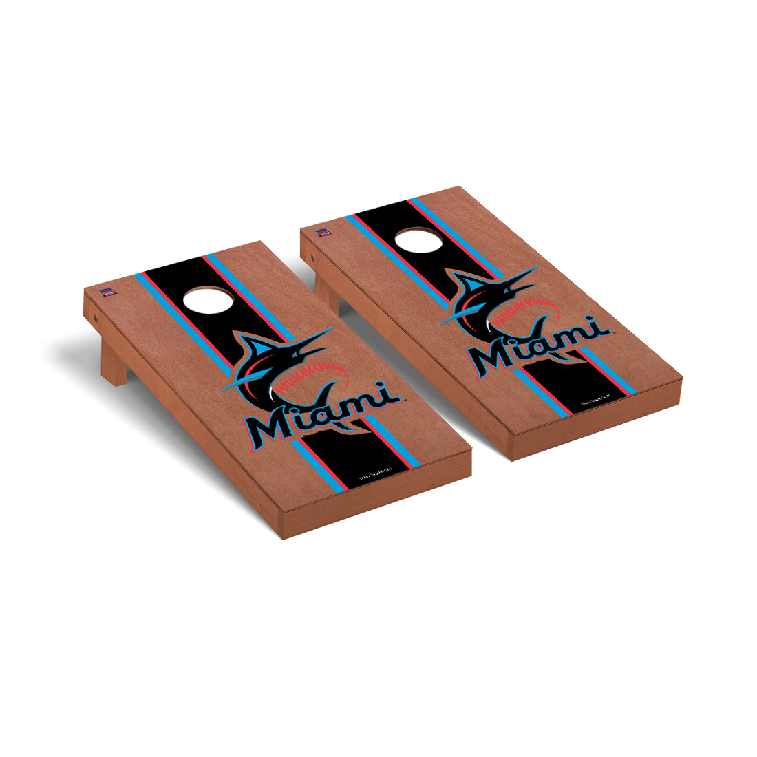 Miami Marlins MLB Cornhole Game Set Rosewood Stained Stripe Version