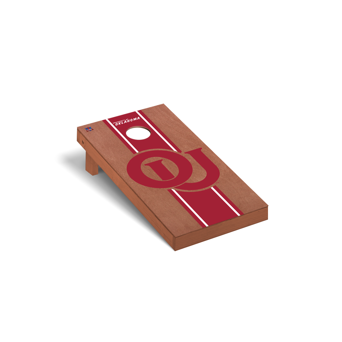 College Vault Oklahoma Sooners Cornhole Game Set Rosewood Stained Stripe Version