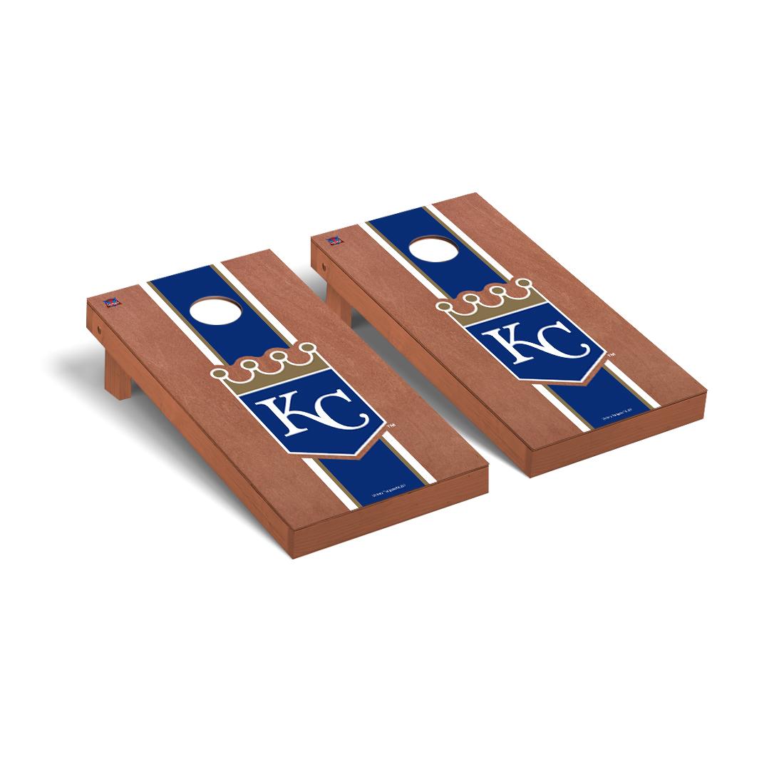 Kansas City Royals MLB Baseball Cornhole Game Set Rosewood Stained Stripe Version