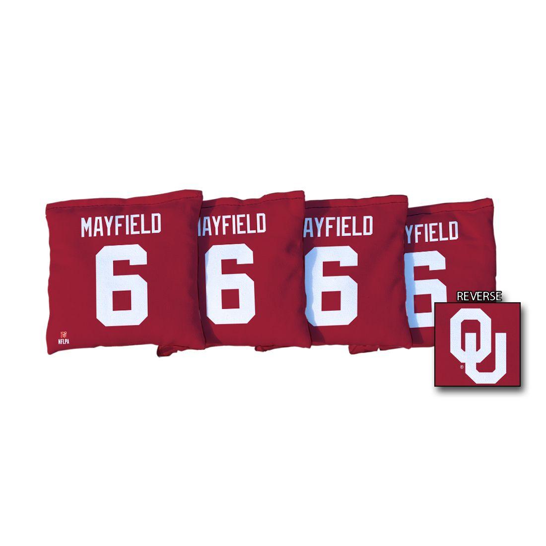 4 University of Oklahoma NFLPA Baker Mayfield Red Regulation Cornhole Bags