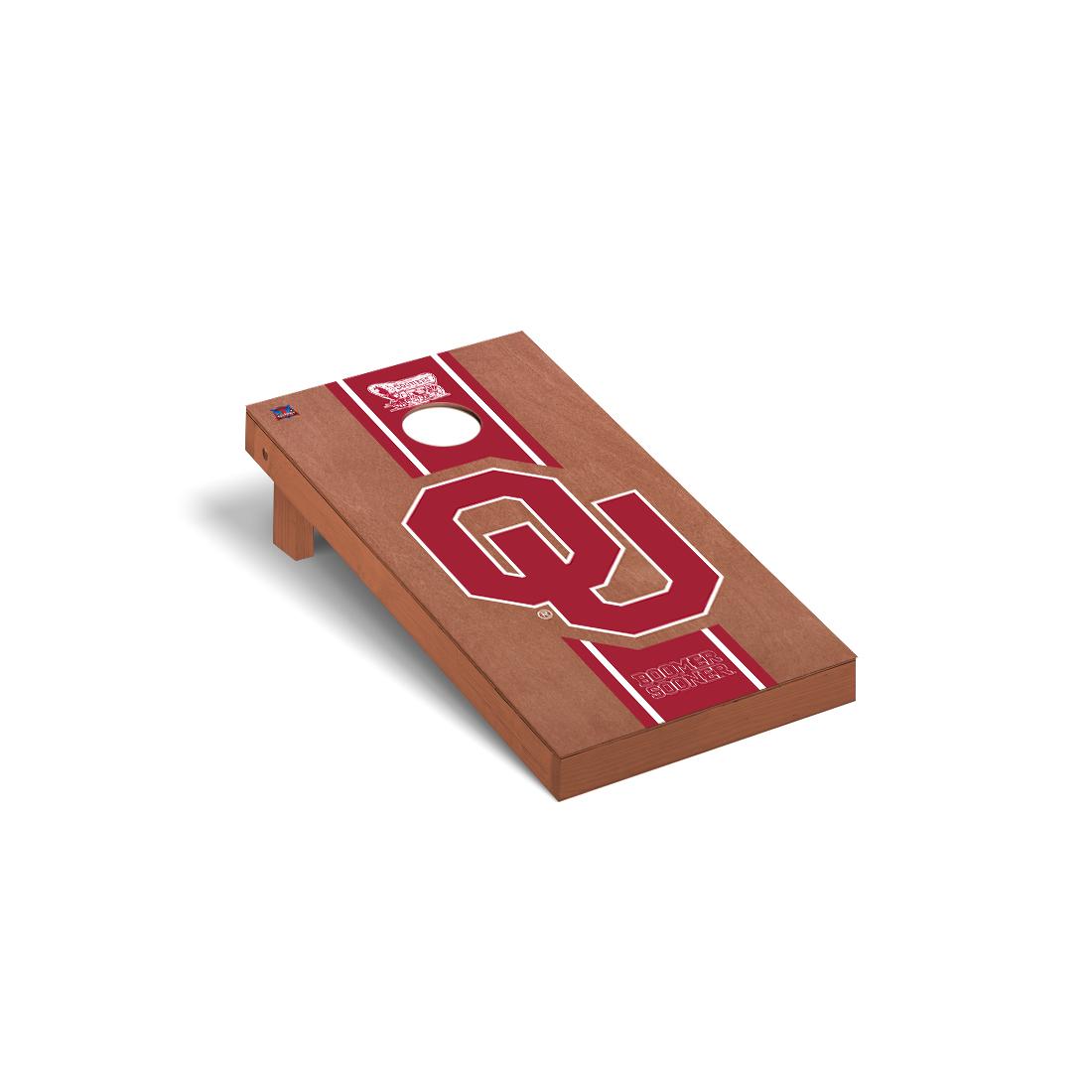 Oklahoma Sooner Cornhole Game Set Rosewood Stained Stripe Version