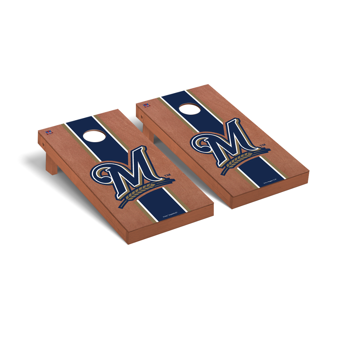 Milwaukee Brewers MLB Cornhole Game Set Rosewood Stained Stripe Version