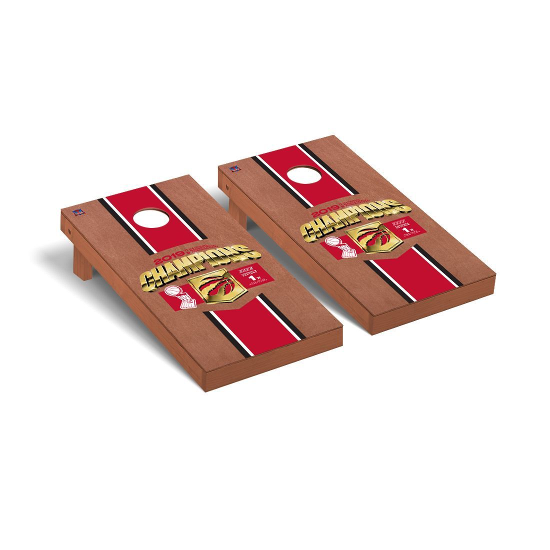 Toronto Raptors NBA Champions 2019 Regulation Cornhole Game Set Rosewood Stained Stripe Version